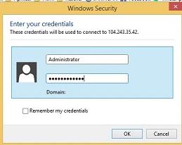 Masukan username dan password Cara Menggunakan VPS Windows