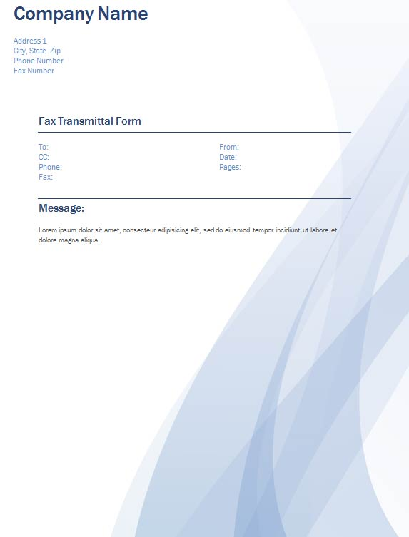 Fax Transmittal Cover Sheet Fax Cover Sheet With Contemporary Design  Waves Fax Transmittal Form