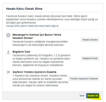 Facebook hesabini silmek
