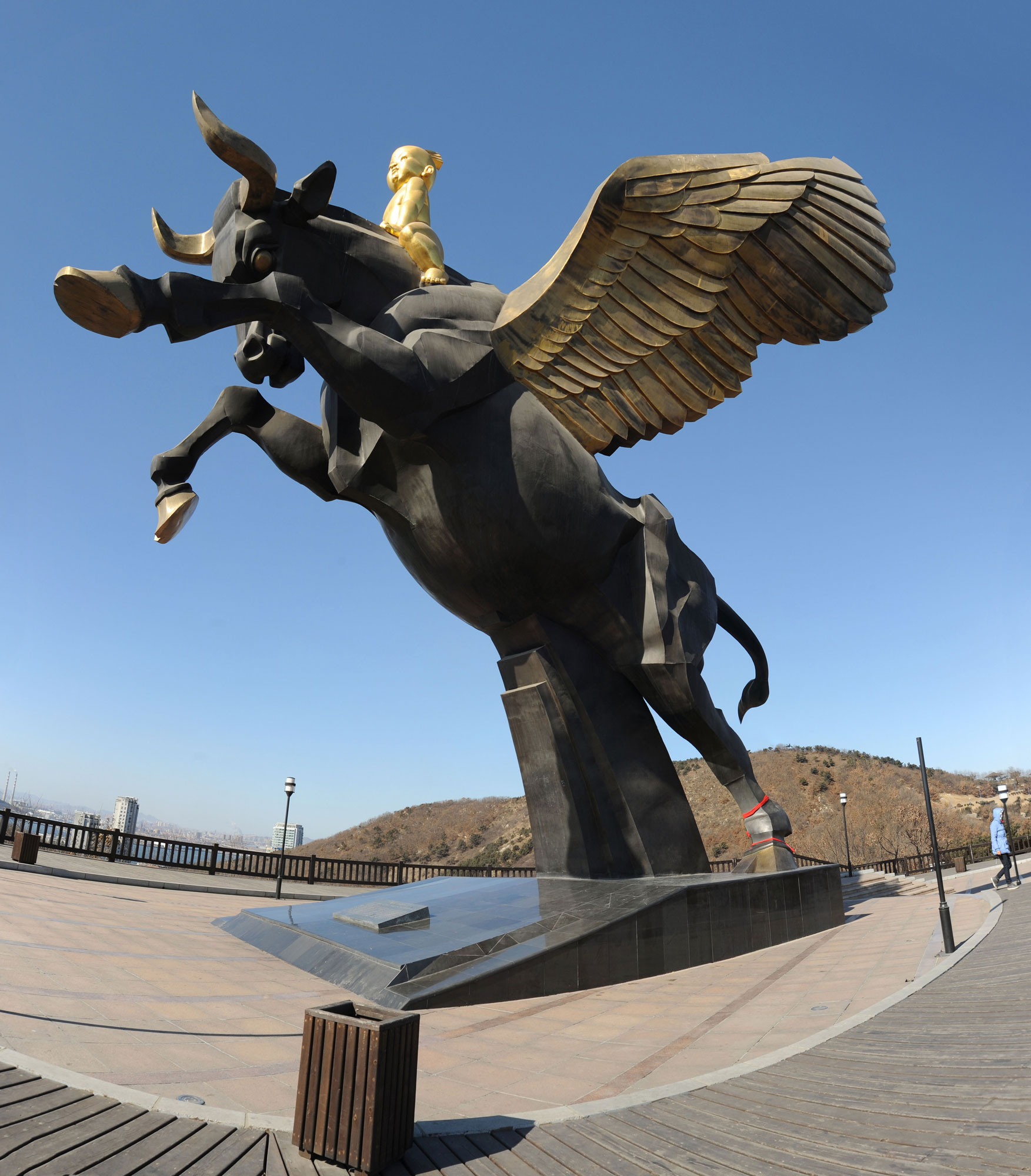 A winged bull is the symbol of Dalian City, China