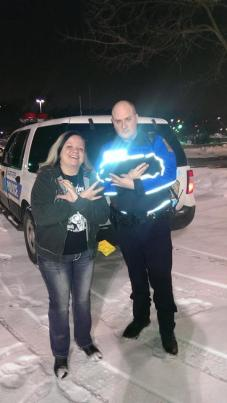 Yup—That's a fucking cop throwing up the wicked clown sign.