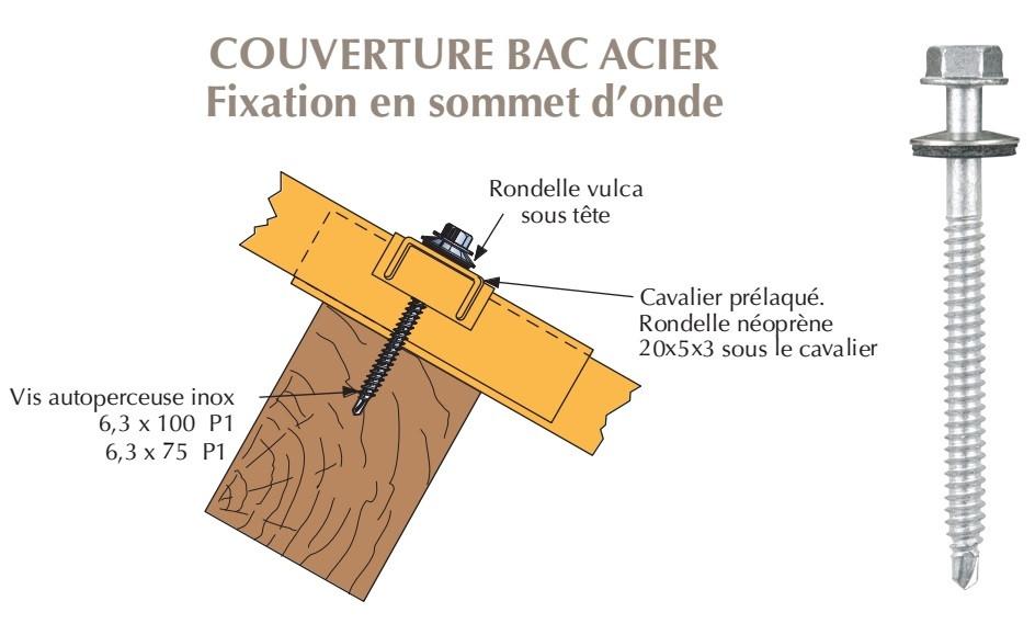 vis inox th autoperceuse p1 o6 3 vulca fixation de bacs acier nervures sur bois