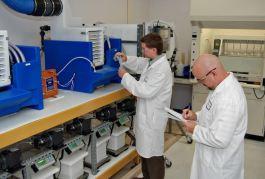U.S. Water scientists testing new PhosZero in the R & D lab