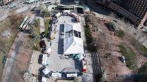 Aerial view of the 2015 Festival Truck Stop in downtown Providence. Photo by David Dadekian