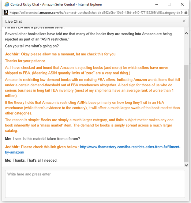 Amazon support chat