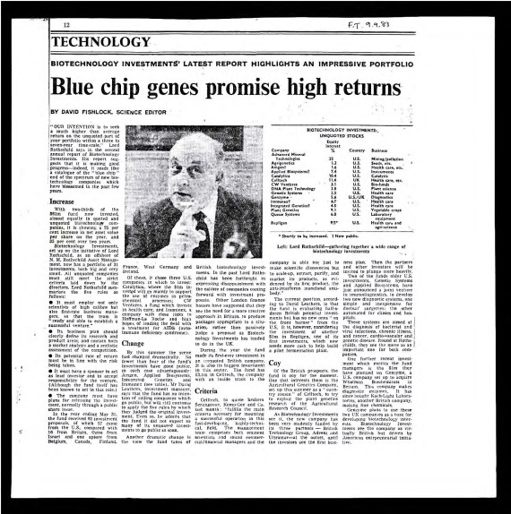 David Fishlock. (Sep. 09, 1983). Blue chip genes promis high returns re. Lord Victor Rothschild Biotechnology Investments Limited (BIL), Co. No. 02892872, N.M. Rothschild Asset Management, p. 6. Financial Times.