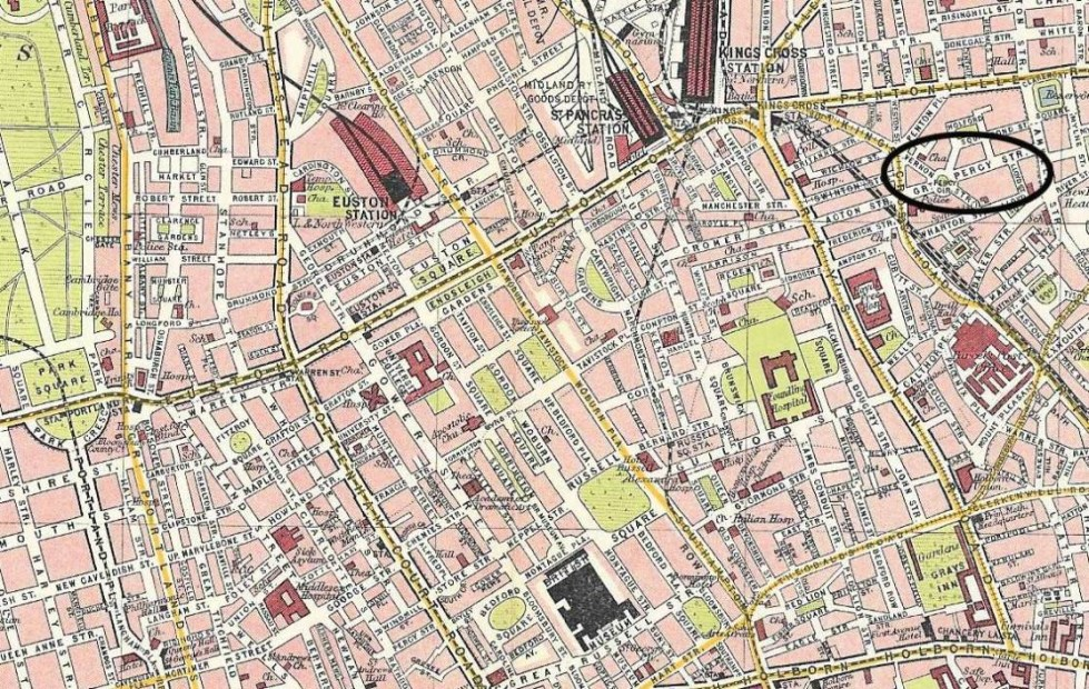 Map from early 1900s showing Percy Circus