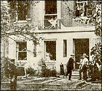 The destruction caused by the bombing of Attorney General Palmer's home.