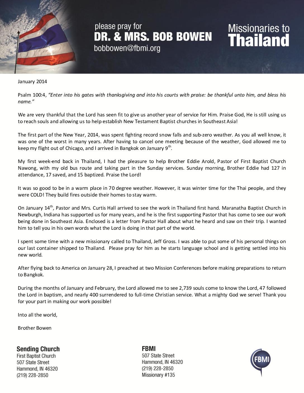 thumbnail of Bob Bowen January 2014 Prayer Letter
