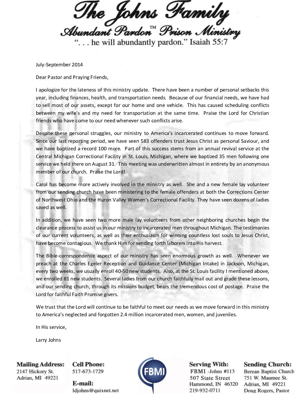 thumbnail of Larry Johns Jul-Sep 2014 Prayer Letter