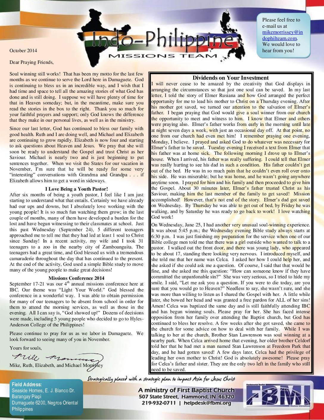 thumbnail of Mike Morrissey October 2014 Prayer Letter