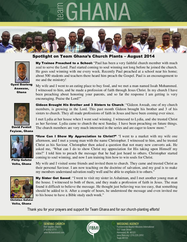 thumbnail of Team Ghana August 2014 National Pastor Update