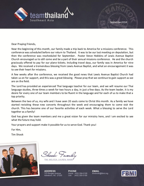 thumbnail of Tim Shook September 2014 Prayer Letter