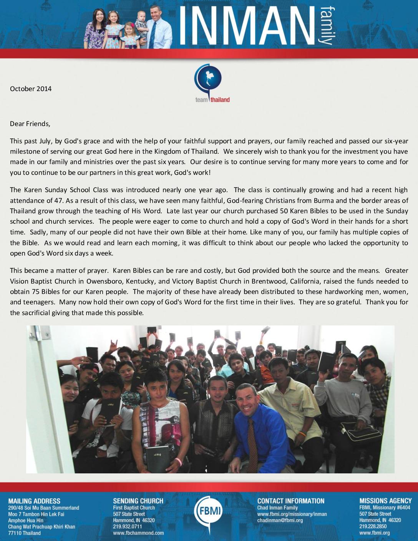 thumbnail of Chad Inman October 2014 Prayer Letter