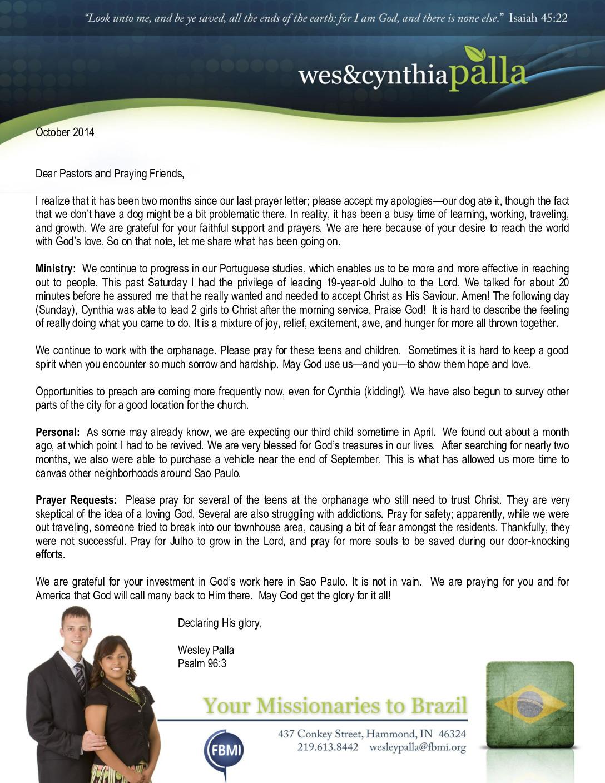 thumbnail of Wes Palla October 2014 Prayer Letter