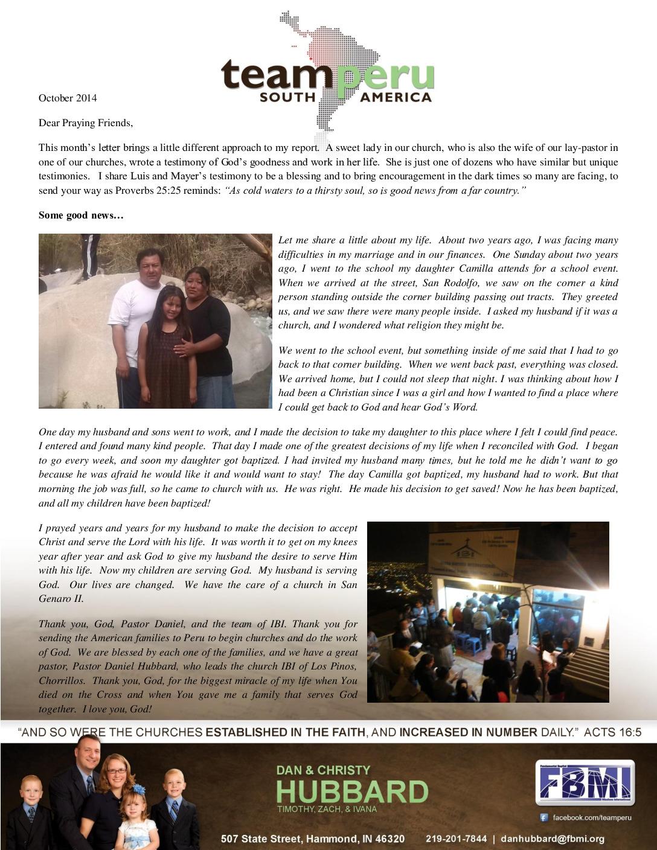 thumbnail of Dan Hubbard October 2014 Prayer Letter