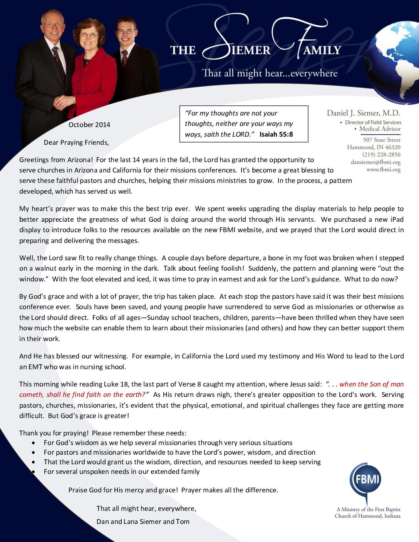 thumbnail of Dan Siemer October 2014 Prayer Letter