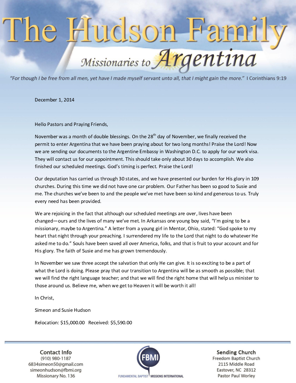 thumbnail of Simeon Hudson prayer letter: Double Blessings