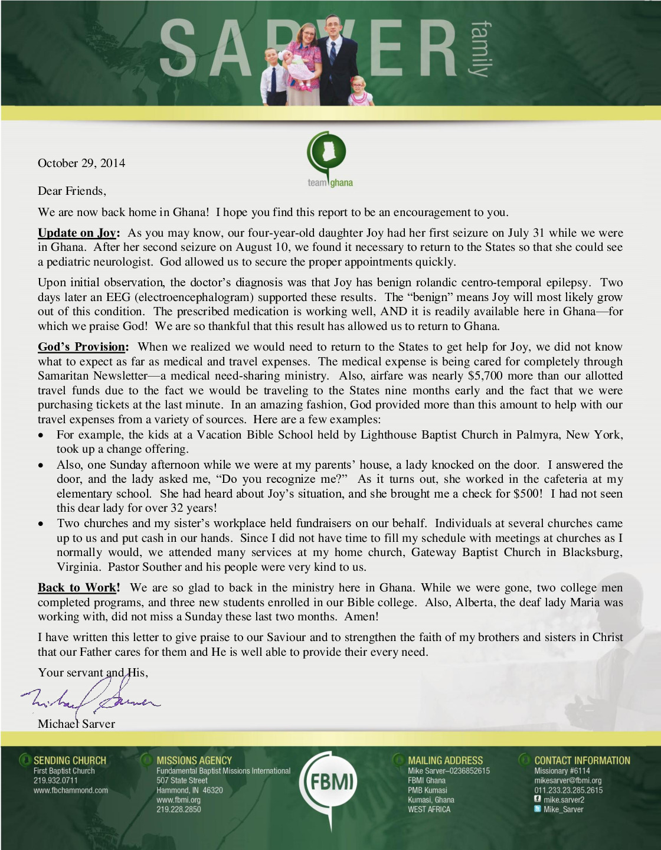 thumbnail of Mike Sarver October 2014 Prayer Letter