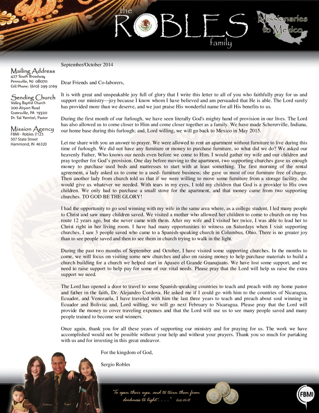 thumbnail of Sergio Robles Sep-Oct 2014 Prayer Letter