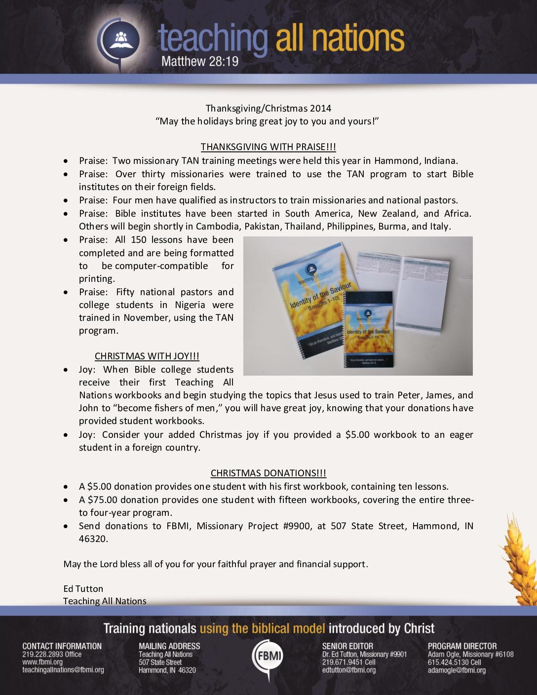 thumbnail of Teaching All Nations November 2014 Prayer Letter