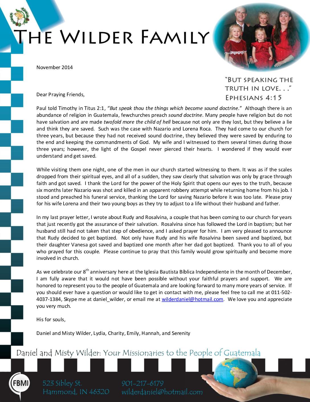 thumbnail of Daniel Wilder November 2014 Prayer Letter