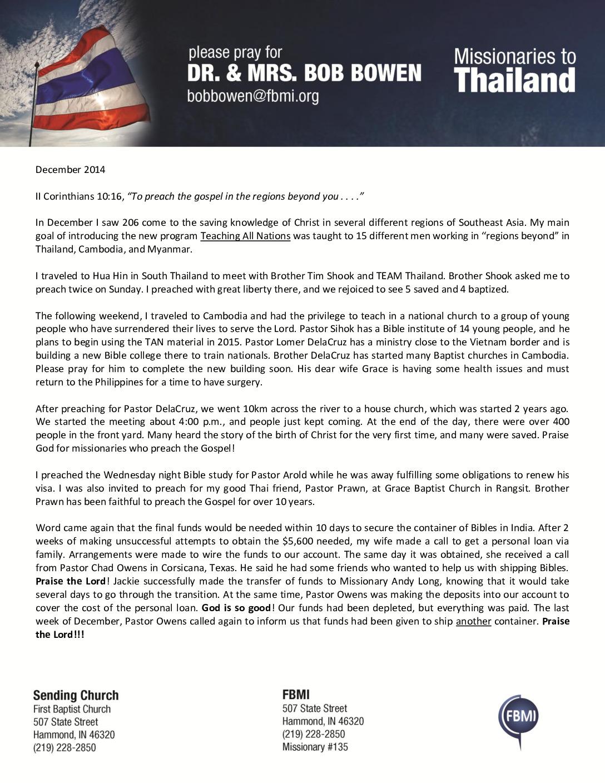 thumbnail of Bob Bowen December 2014 Prayer Letter