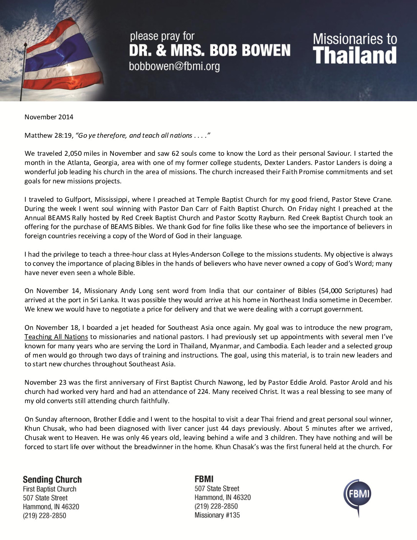 thumbnail of Bob Bowen November 2014 Prayer Letter