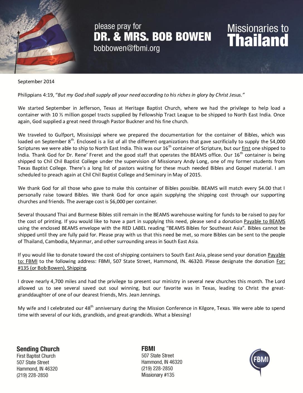 thumbnail of Bob Bowen September 2014 Prayer Letter