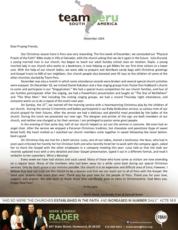 thumbnail of Mark Rader December 2014 Prayer Letter