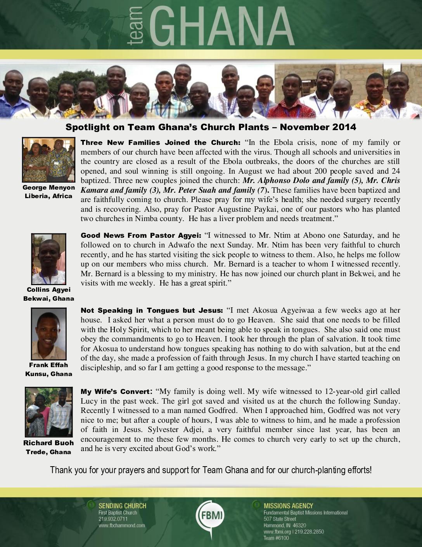 thumbnail of Team Ghana National Pastor November 2014 Update