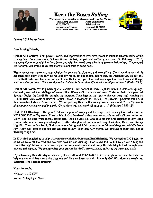 thumbnail of Warren Storm January 2015 Prayer Letter