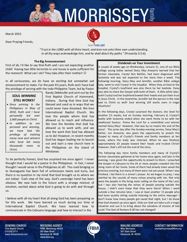 thumbnail of Michael Morrissey February 2015 Prayer Letter