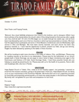 Roberto Tirado Prayer Letter:  Furlough Blessings