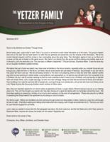 Christopher Yetzer Prayer Letter:  He Is Coming Back