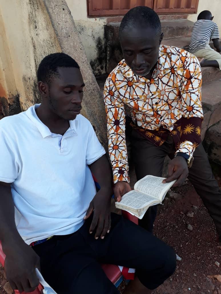 Pastor Isaac Akwaboah winning a soul to Christ