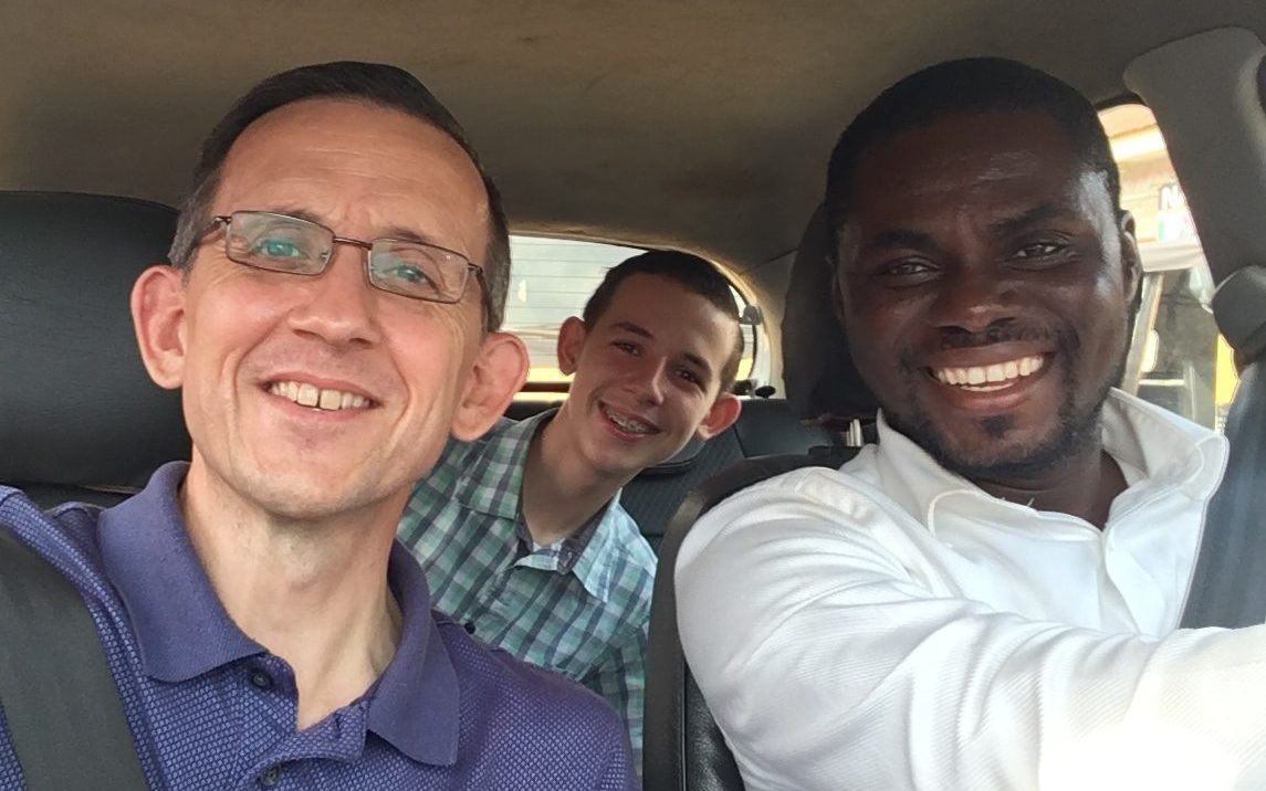 Missionary Mike Sarver with Uber driver Pastor Enoch