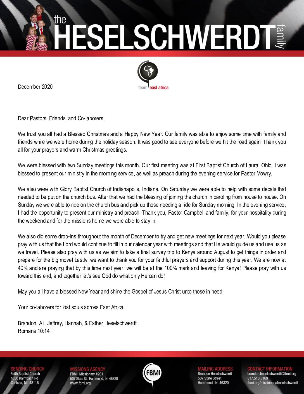 thumbnail of Brandon Heselschwerdt December 2020 Prayer Letter – Revised