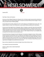 Brandon Heselschwerdt Prayer Letter: Great End to the Year