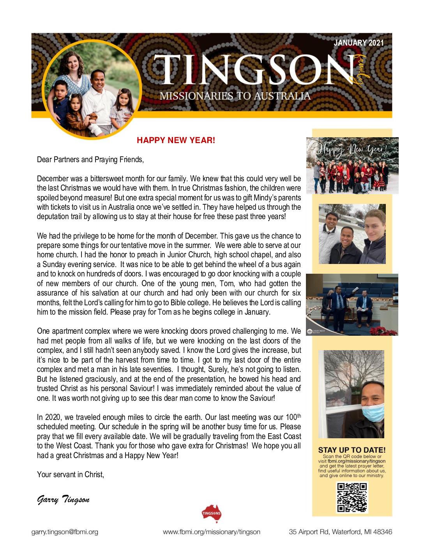 thumbnail of Garry Tingson January 2021 Prayer Letter – Revised