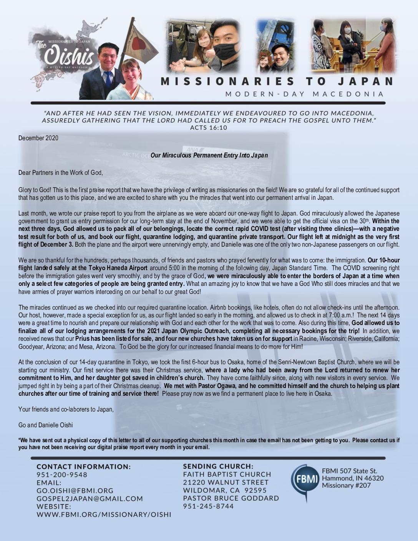 thumbnail of Go Oishi December 2020 Prayer Letter – Revised