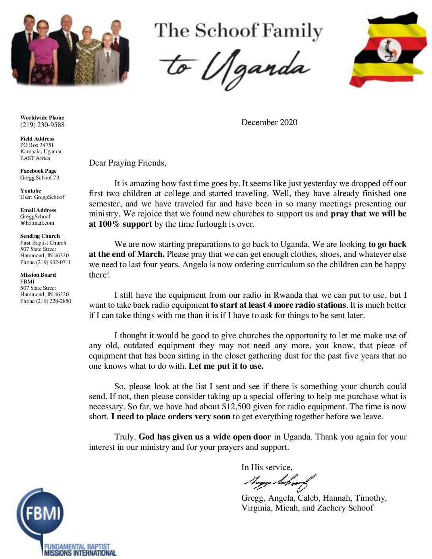 thumbnail of Gregg Schoof December 2020 Prayer Letter