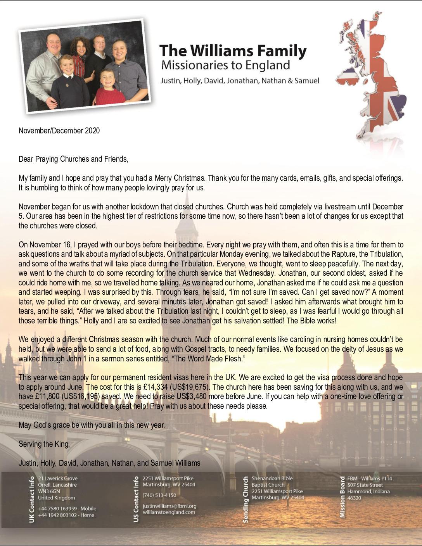 thumbnail of Justin Williams Nov-Dec 2020 Prayer Letter – Revised