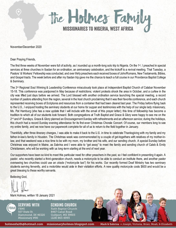 thumbnail of Mark Holmes Nov-Dec 2020 Prayer Letter – Revised