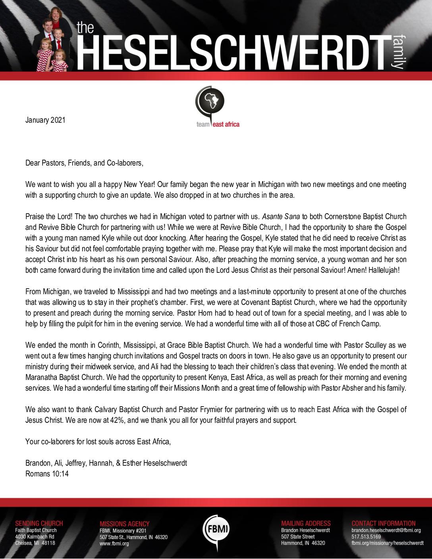 thumbnail of Brandon Heselschwerdt January 2021 Prayer Letter – Revised