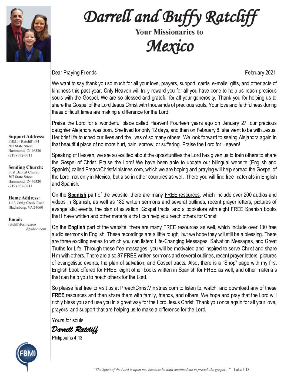 thumbnail of Darrell Ratcliff February 2021 Prayer Letter