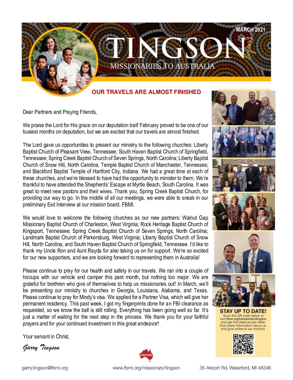 thumbnail of Garry Tingson March 2021 Prayer Letter