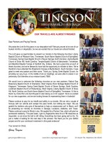 Garry Tingson Prayer Letter:  Our Travels Are Almost Finished!