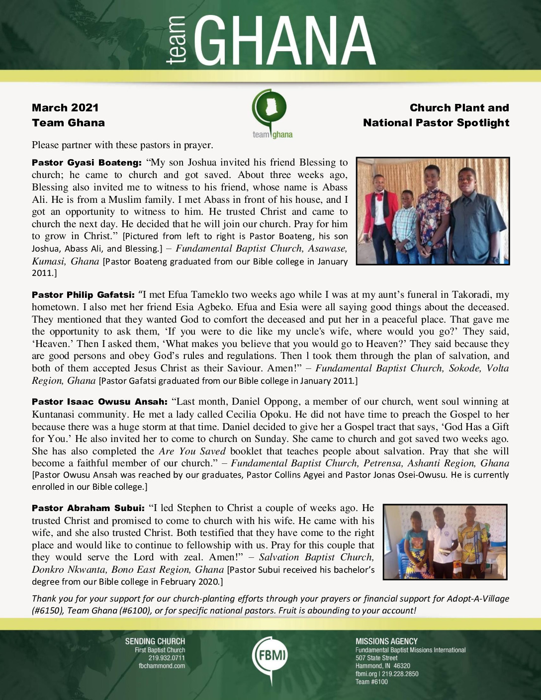 thumbnail of Team Ghana March 2021 National Pastor Update