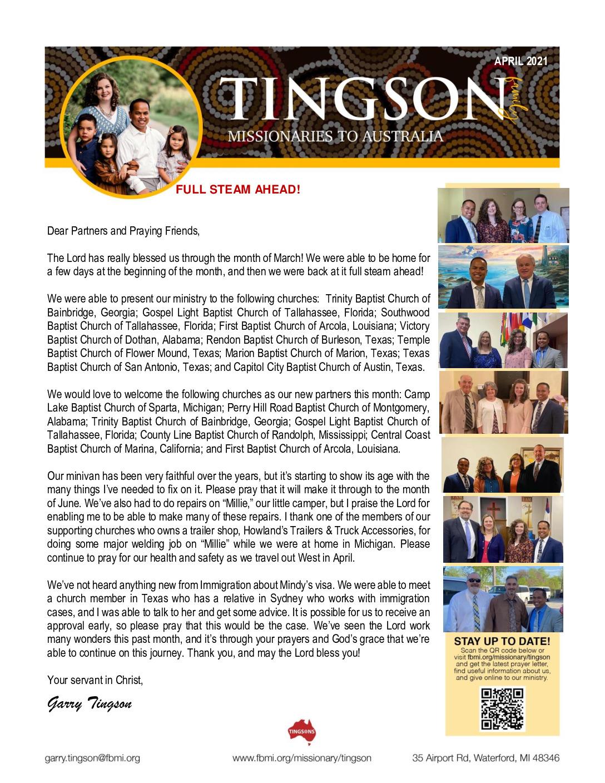 thumbnail of Garry Tingson April 2021 Prayer Letter